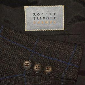 54S Robert Talbott Tailored* Brown Blue Plaid coat